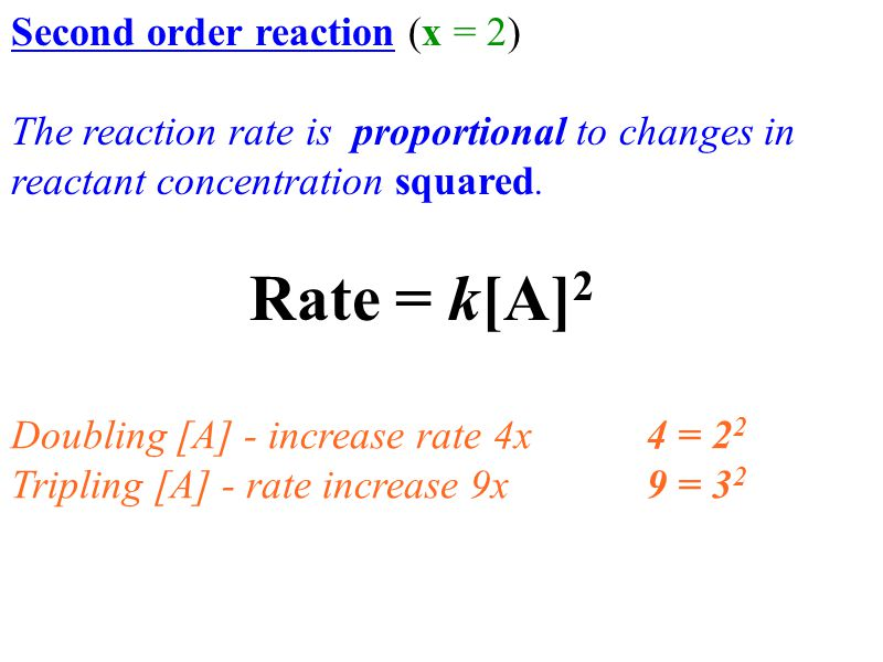 Rate = k[A]2 Second order reaction (x = 2)